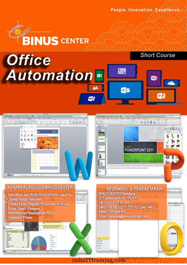 - Office Automation Package - Word Processing with Microsoft Word - Presentation Processing with Microsoft PowerPoint - Data Processing with Microsoft Exce - VBA and Macro Processing with Microsoft Excel - Printed Publishing with Microsoft Publisher - Office Automation Package with Open Office - Engineering Planning and Presentation with Microsoft Project