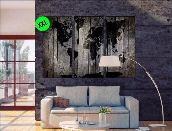 Mondo mappa del legname di legno stile grigio legno con stampa d