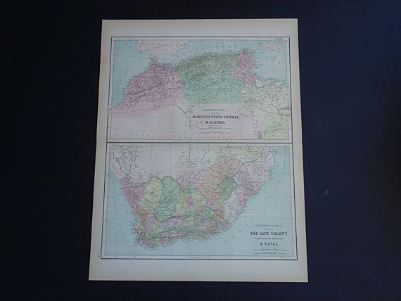AFRICA old map of South Africa 1875 LARGE by VintageOldMaps