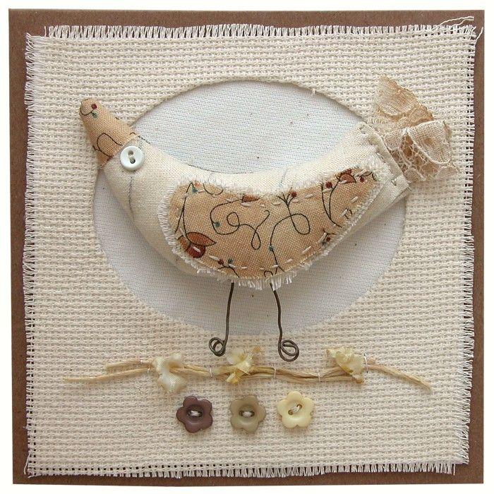 Přání textilní koláž Ptáček