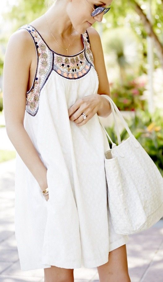 White sleeveless tribal embroidered dress. Feelin' tribal!: