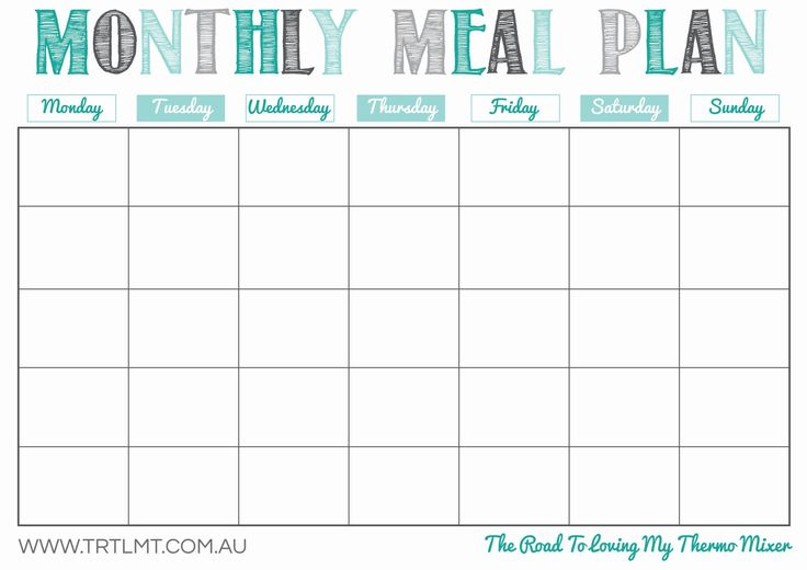 Printable Monthly Meal Planner organization in 2019 Meal planner