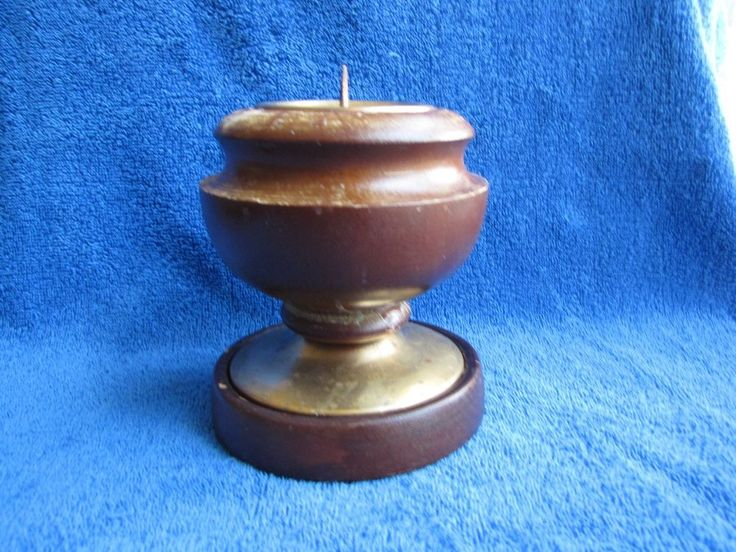 VINTAGE Soviet Russian Candles holders candlestick bronze brass wood USSR