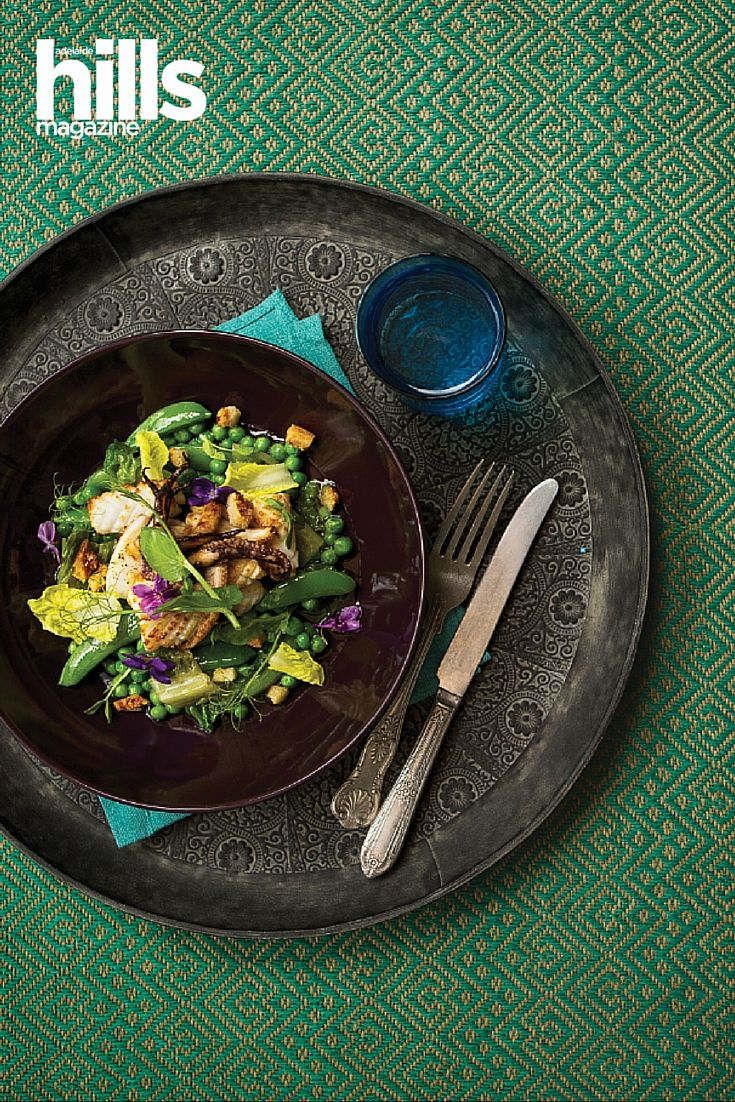 Magical Squid, Peas, Lettuce And Pork Crackling Recipe. Recipe from chef Zac Ronayne from The Bridgewater Mill, Adelaide Hills, South Australia.