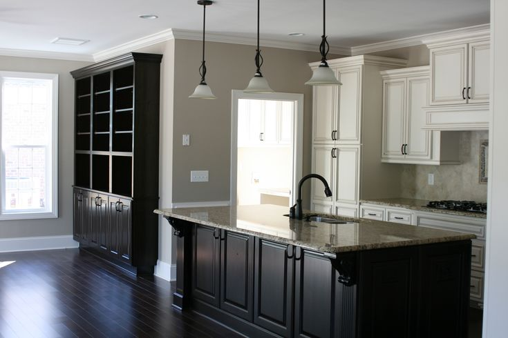 Anew gray by sherwin williams with dark floors and off for Grey floor black cabinets