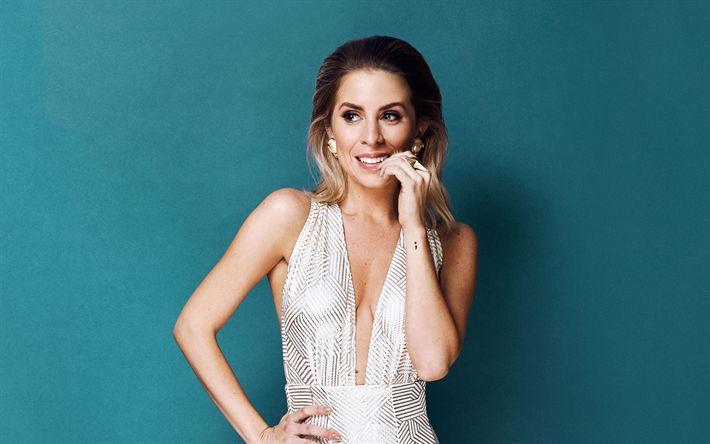 Herunterladen hintergrundbild lindsay lamm, porträt, schauspielerin, schöne frau, weißes luxuriöses kleid