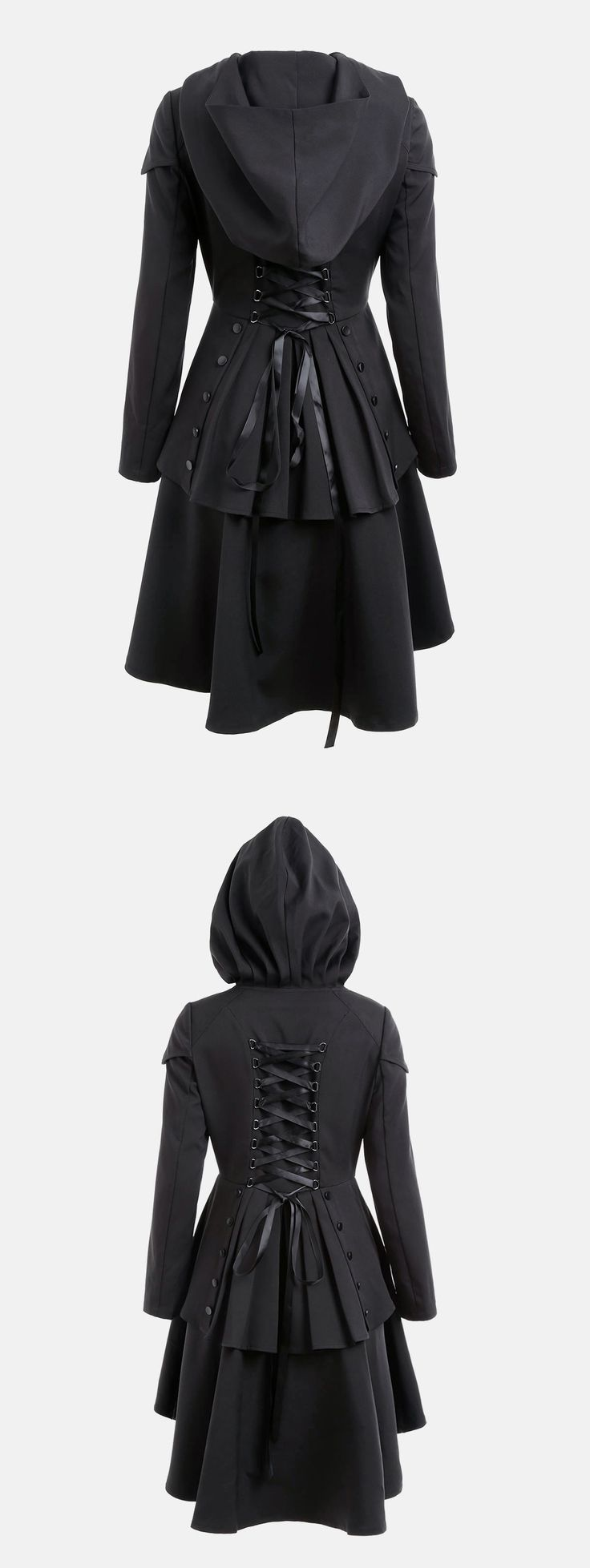 Happy Halloween Costume | $23.49 | Layered Lace Up High Low Hooded Coat | Sammydress.com