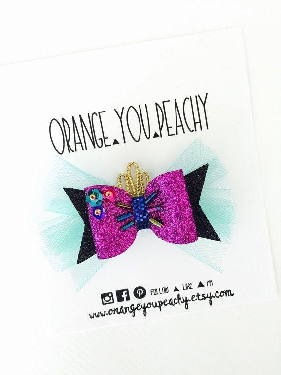 Disney Frozen Anna Inspired Hair Bow Glitter by OrangeYouPeachy