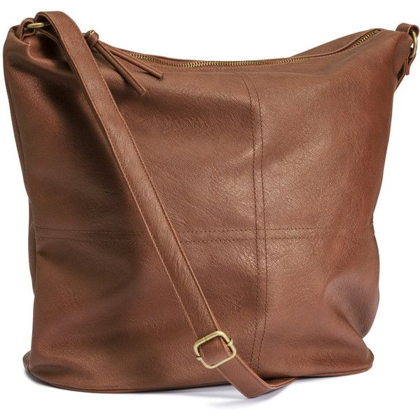 H&M Shoulder bag ($31) ❤ liked on Polyvore featuring bags, handbags, shoulder bags, purses, brown, h&m, embellished handbags, brown shoulder bag, h&m purses and h&m handbags