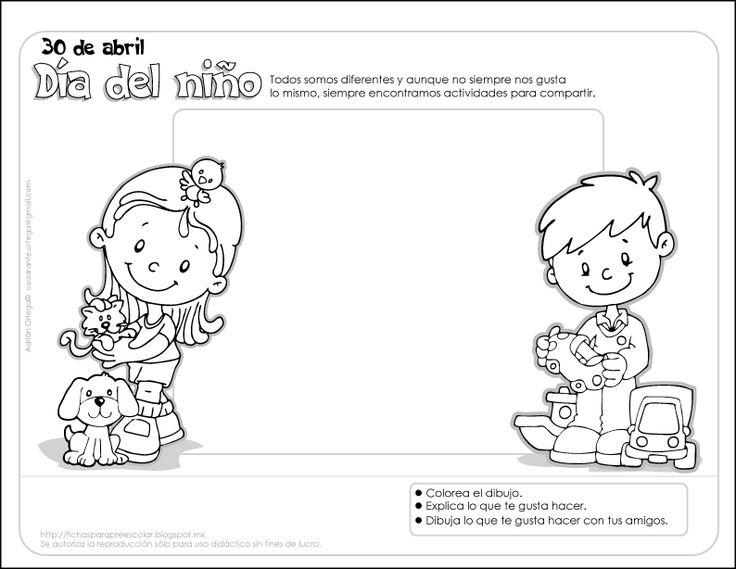 Fichas para preescolar: Día del niño, una ficha para compartir