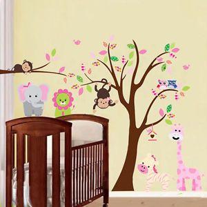Large Monkey Owl Animal Tree Wall Sticker Art PVC Decal Kids Nursery Room Decor-in Wall Stickers from Home & Garden on Aliexpress.com