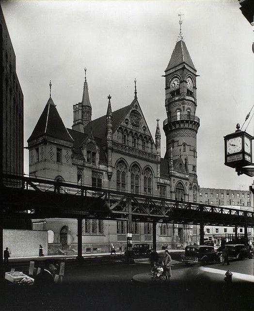 Jefferson Market Court, southwest corner of Sixth Avenue and West 10th Street, Manhattan. Berenice Abbott, October 21, 1935