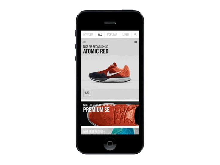 Early motion studies of Nike SNKRS app.