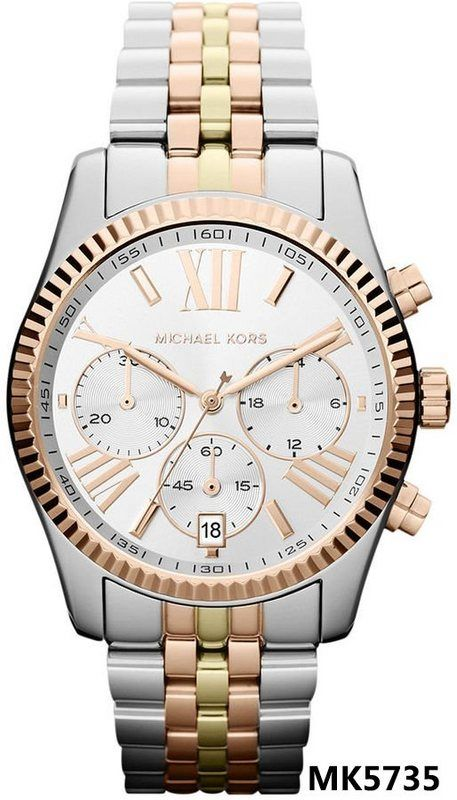 Mineral Crystal     Brand     Michael Kors     Series     Lexington     Model     MK5735     Gender     Ladies     Movement     Quartz      Water Resistance     100 meters / 330 feet     Calendar     Date display appears at the 6 o'clock position Functions     Chronograph, Date, Hour, Minute, Second     Features     Chronograph, Gold, Stainless Steel sport MK/MK/men's MK / watches men's/ watches sports/waterproof watch Contact Skype :freeli1985