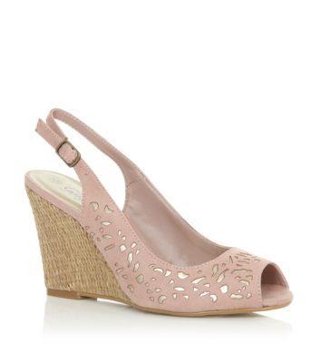 Nude Laser Cut Metallic Raffia Wedge Sandals