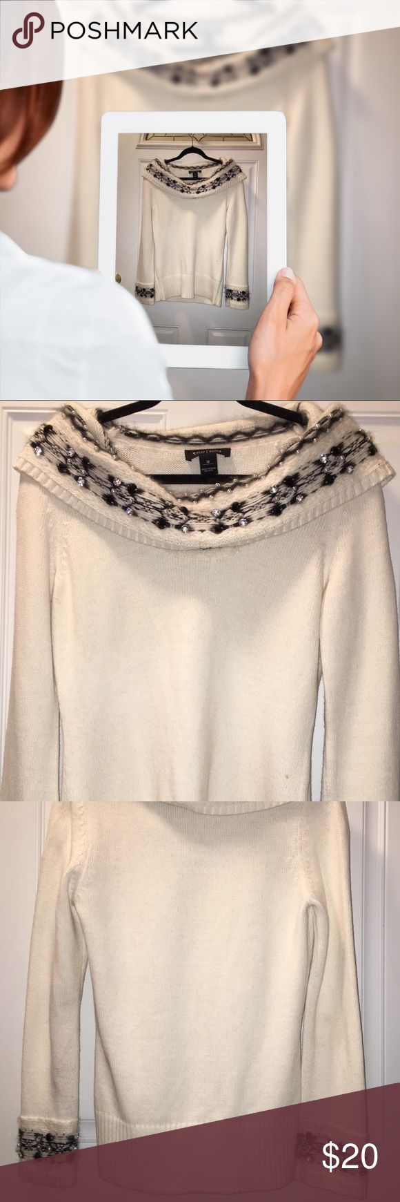 Elegance Defined. Lush Embellished Sweater WHBM elegant off, or on, shoulder Sweater. Vey warm, and very refined. Warn twice. Truly a statement piece. Lush and luxurious with various beads and stones placed by hand. Three small spots on front, no attempt to remove but probably easily cleaned or easily hidden. See close up for spots. White House Black Market Sweaters Crew & Scoop Necks