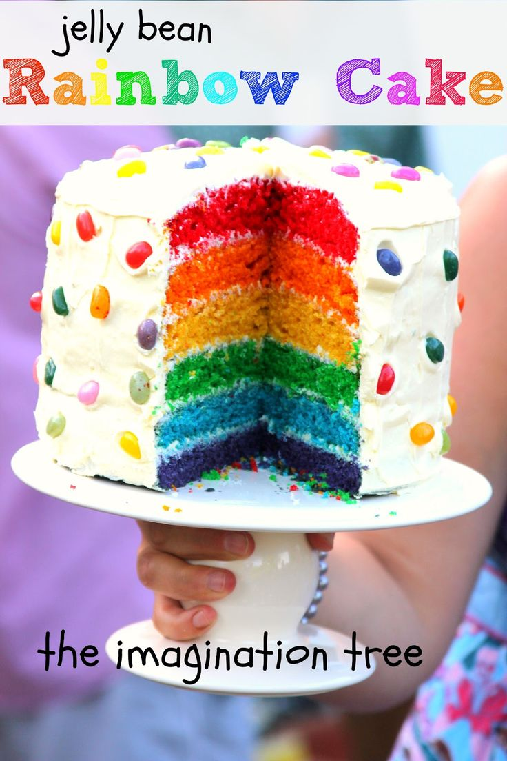 How to Make a Rainbow Cake~ Love the jelly beans!