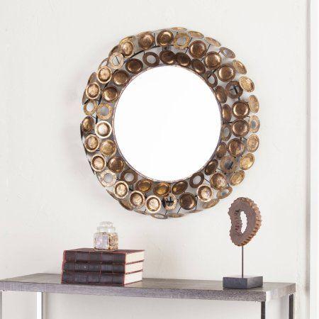 Southern Enterprises Julios Round Decorative Mirror, Gold and Copper