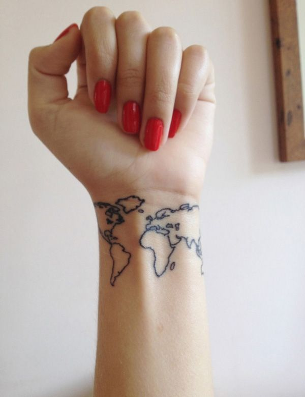 Map Wrist Tattoo - color in each one as you visit them. A check off bucket list by tattoo!