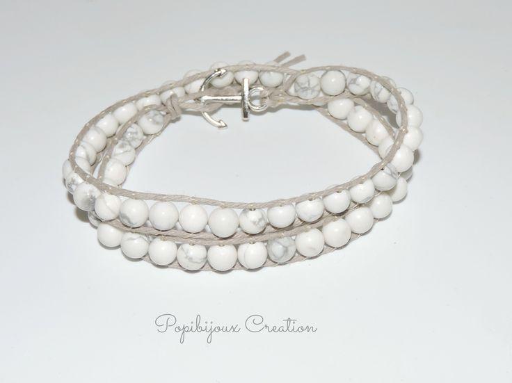 Bracelet HOMME Bracelet turquoise howlite blanc sur cordon de chanvre beige : Bracelet par popibijouxcreation