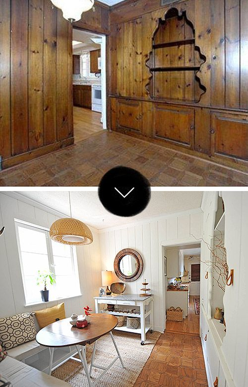 Before after a breakfast nook seriously lightens up for Wood paneling painted white