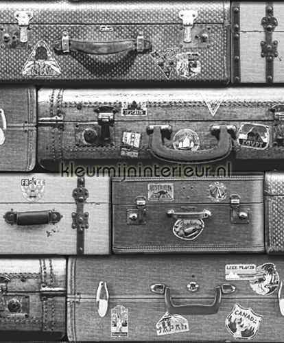 Gestapelde koffers zwart wit behang behangwereld