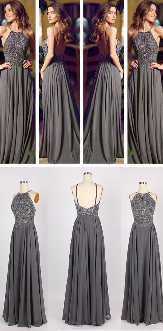 Long Prom Dress, Gray Prom Dress, P