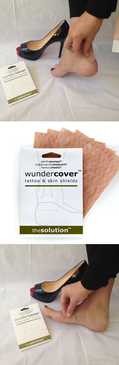 Painful High Heels or Flats? Inappropriate Body Art? The solution Wundercover - Tattoo & Skin Shields. Whether it's a tattoo that needs to be covered or feet that need to be protected from blisters, Wundercover skin coloured fabric is the answer. Wundercover adds an extra layer between your skin & shoes that rub helping to prevent blisters on feet. Its chameleon fabric sticks directly to the skin & blends with most skin tones to camouflage areas that needs protection.