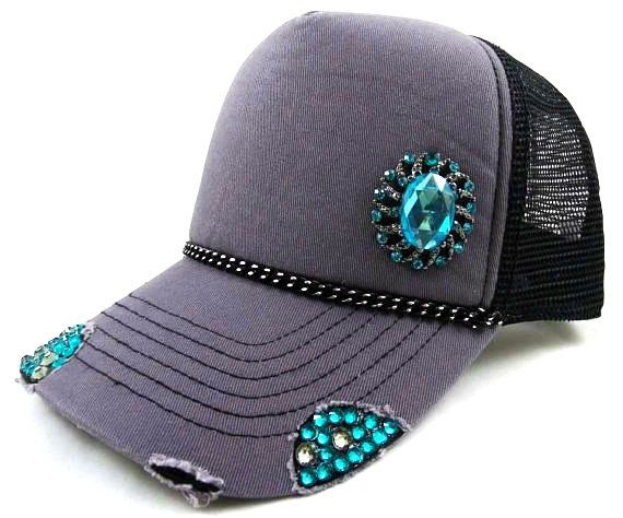 Swarovski Trucker Hat Featuring Black/Silver by VelvetSpadeDesigns, $38.00