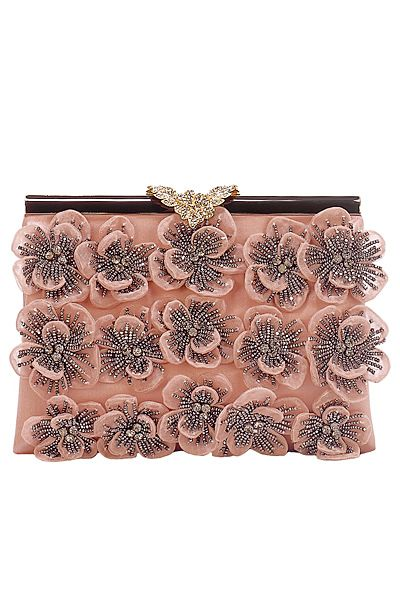 Valentino Pink and Grey Flower Beaded Clutch Bag