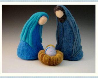 DEPOSIT on LARGE Nativity Set 3 pieces Needle Felted Waldorf style