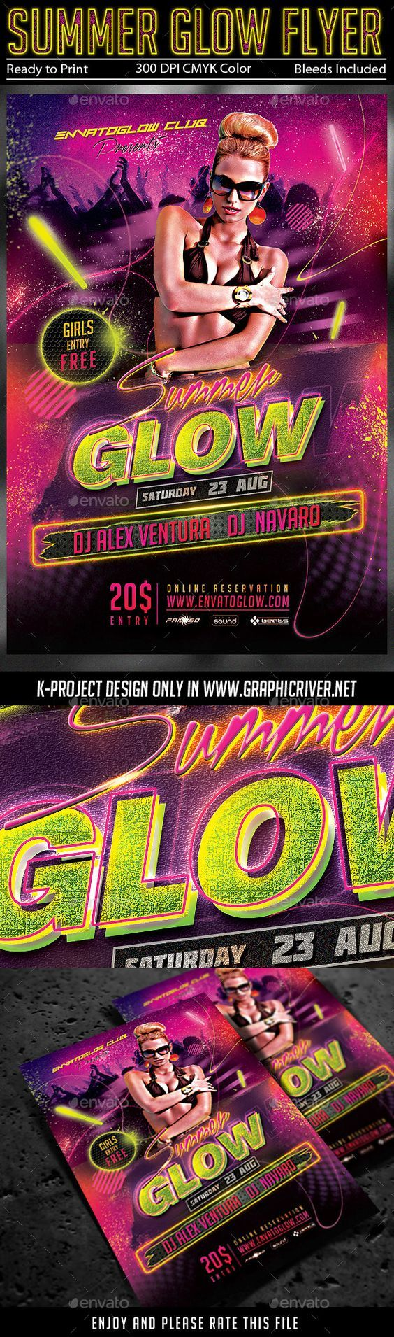 Summer Glow Party Flyer Tempalte #design Download: http://graphicriver.net/item/summer-glow-party-flyer/11539022?ref=ksioks: