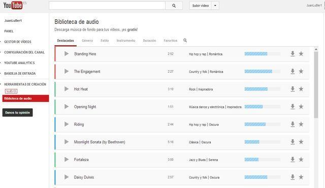 YouTube lanza un banco de música gratis para emplear en los vídeos