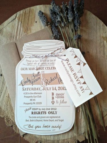 Save paper and money with this rustic Mason jar wedding invite.