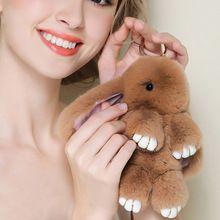 2017 Play Dead Rabbit Fur Rabbit Bunny Keychain Fashion fur pom pom keychain Rabbit Toy Doll Hanging Pendant Jewelry Accessories(China (Mainland))