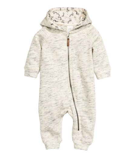 Check this out! CONSCIOUS. Jumpsuit in sweatshirt fabric. Jersey-lined hood, zip at front and along one leg, and ribbing at cuffs and hems. Soft, brushed inside. Made partly from organic cotton. - Visit hm.com to see more.