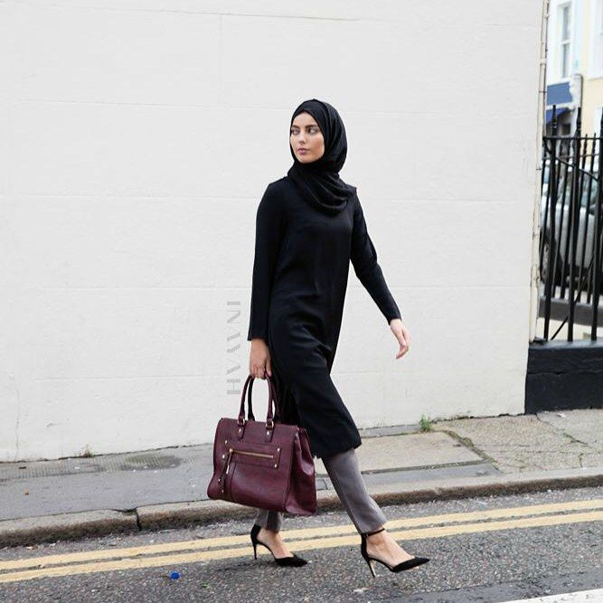 INAYAH | Black Crepe Midi #Dress Ash Grey Straight Cut #Trousers  Black Georgette #Hijab