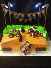 monster truck cake with lights