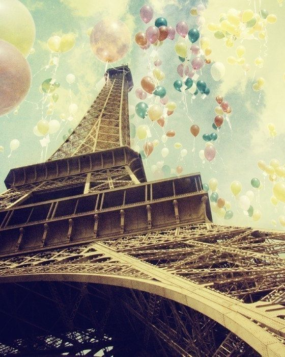 Paris Photo - Eiffel Tower - Balloons - Romance and Celebrations - Paris is Flying - going out of stock - only a few left. $30.00, via Etsy.