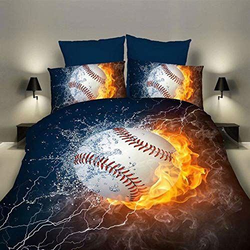 Aolvo Bedding Set Sports Themed Bed 2pc Baseball Printed Duvet Cover Pillowcase S Boys Decorative College Bedroom No Comforters