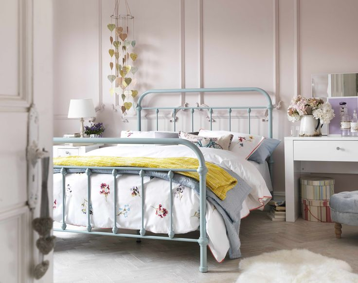 The Betsy Vintage Hospital Double Bed in Duck Egg blue. Its curved headboard and footboard styles your bedroom in a unique, simple yet classy manner.