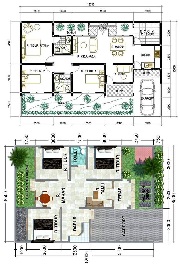 22+ Inspirasi Denah Rumah 3 Kamar Denah rumah, Denah