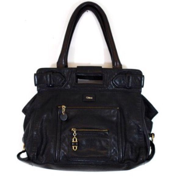 Black leather Chloe handbag Gorgeous black handbag with plaid interior by Chloe. Gold hardware. On small red spot on handle. Small markings/wear on bottom lining. Chloe Bags