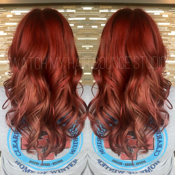 Red And Rose Gold Hair Color Melt Using Alfaparf