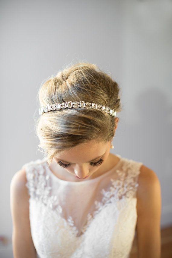 Crystal Ribbon Headband Wedding Headband by PowderBlueBijoux
