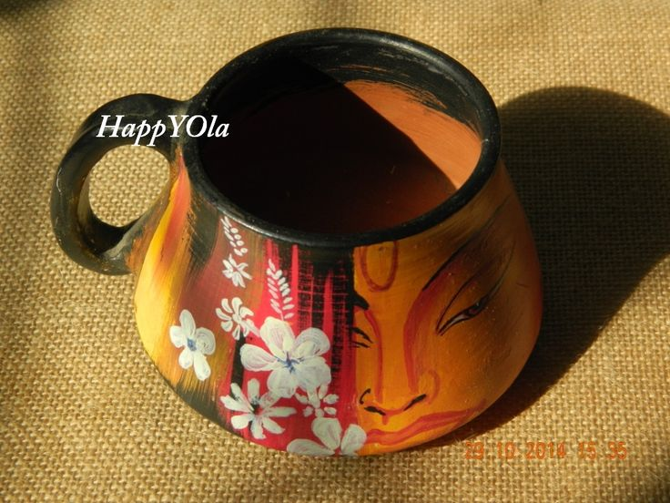 hand painted terracotta mugs