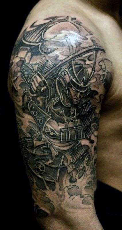 old school colored detailed shoulder tattoo of samurai. Black Bedroom Furniture Sets. Home Design Ideas