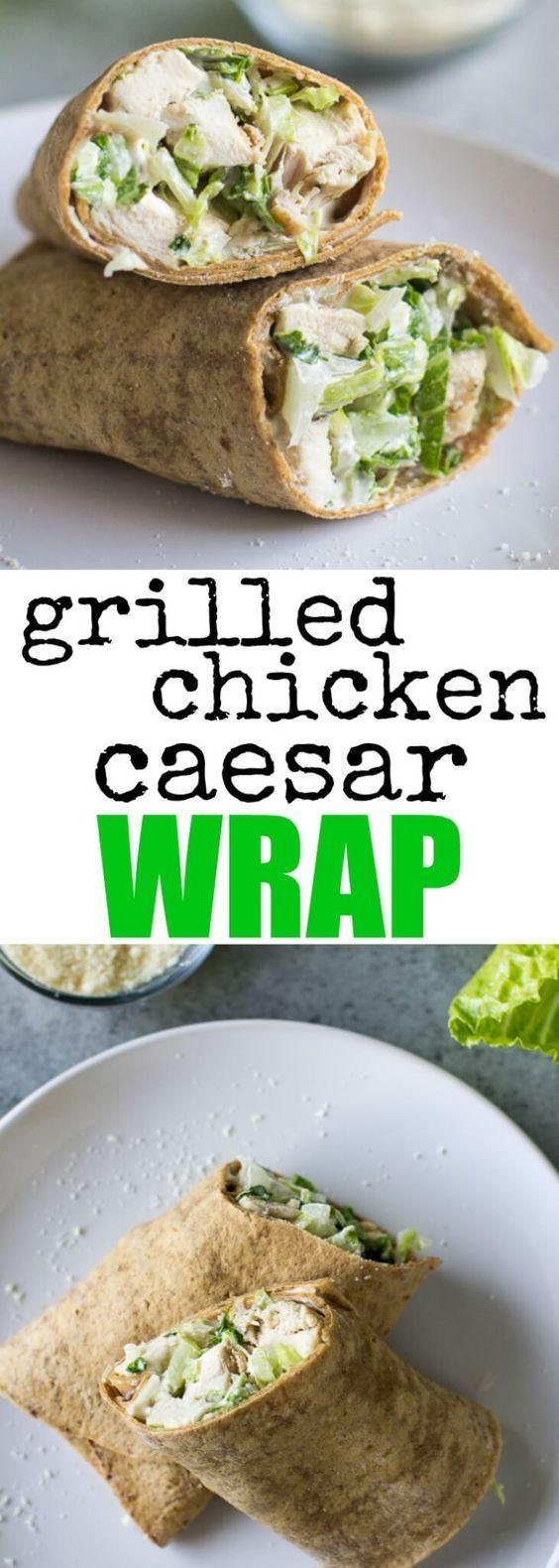 Packen Sie für ein einfaches, proteinreiches Mittagessen ein gegrilltes Hühnchen-Cäsar-Wrap ein! Neu entdecken …   – Healthy foods