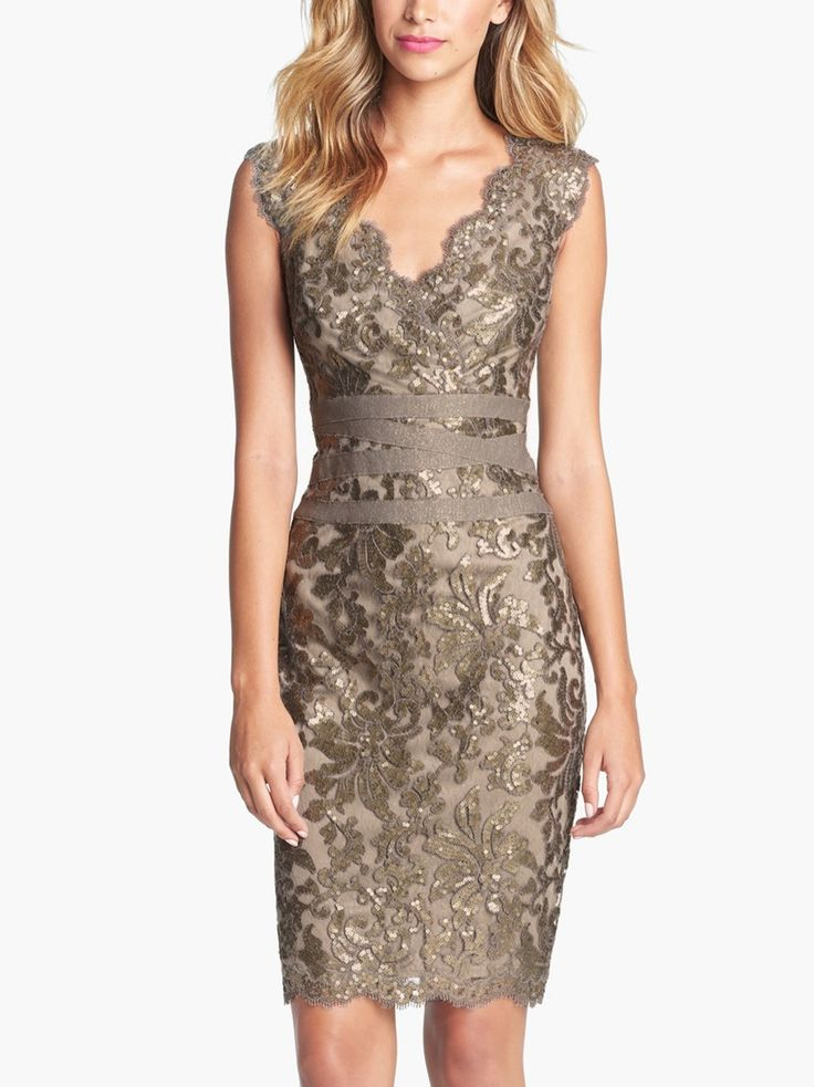 This lace sheath dress is so elegant.