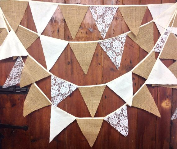 Rustic burlap lace wedding bunting 34ft 58 flags on oatmeal tape ideal shabby chic, cottage chic, country barn venue decoration on Etsy, £25.90